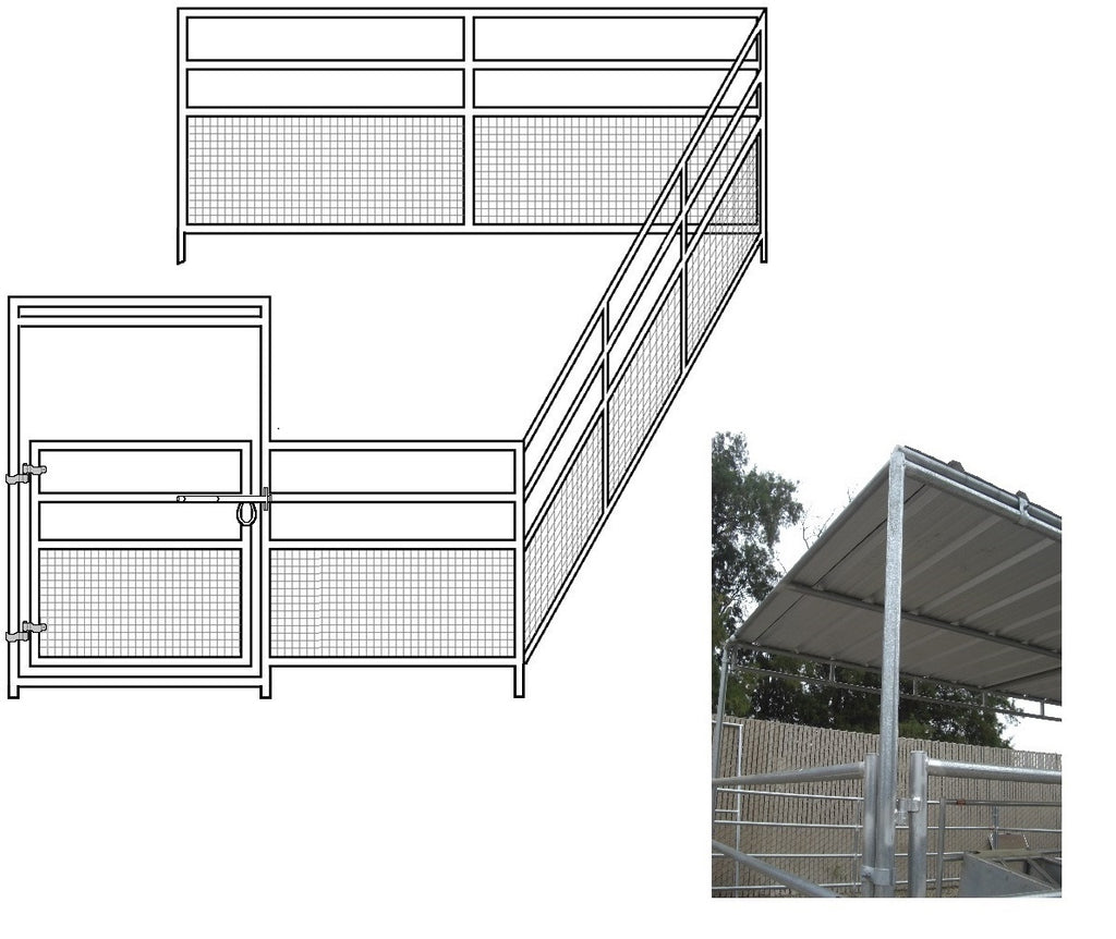 12'W x 24'D 1-5/8 4-Rail Mare & Foal Horse Corral Add-On with 8' x 12' Trussed Cover
