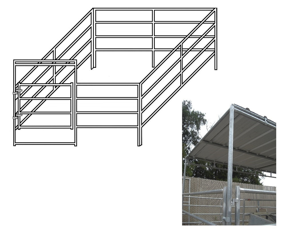 12'W x 16'D Complete Corral 4-Rail 1-5/8 with 8' x 12' Trussed Clamp-On Cover
