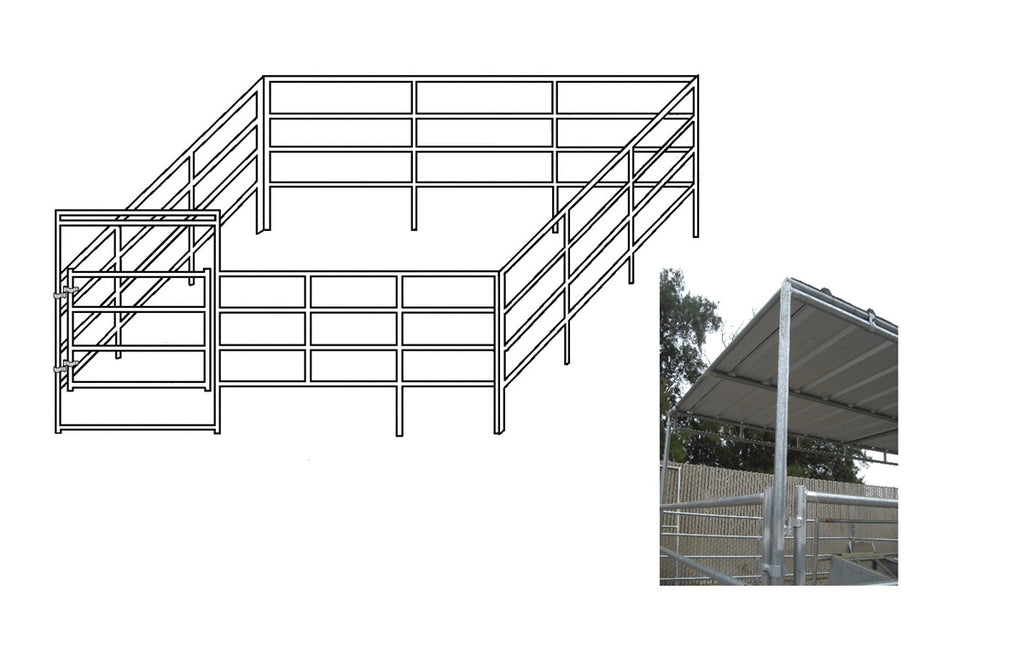 24'W x 24'D Complete Corral 4-Rail 1-5/8 with 8' x 24' Trussed Clamp-On Cover