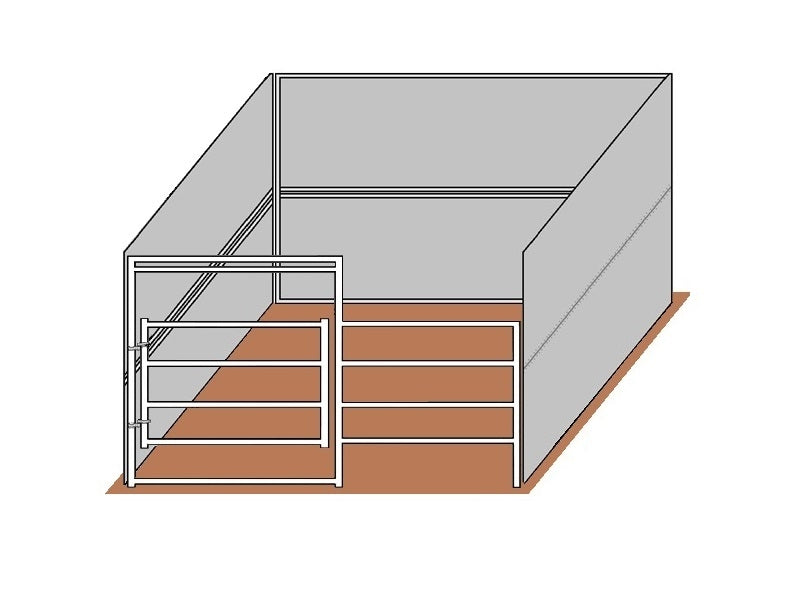 12'D x 12'W Solid Walls Gated Stall Kit