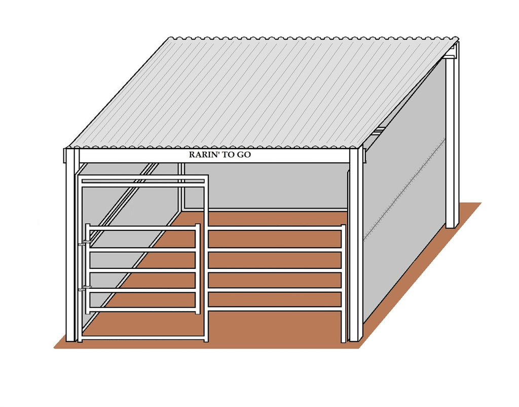 12'D x 12'W Solid Walls Gated Stall with 12' x 14' Cover Kit