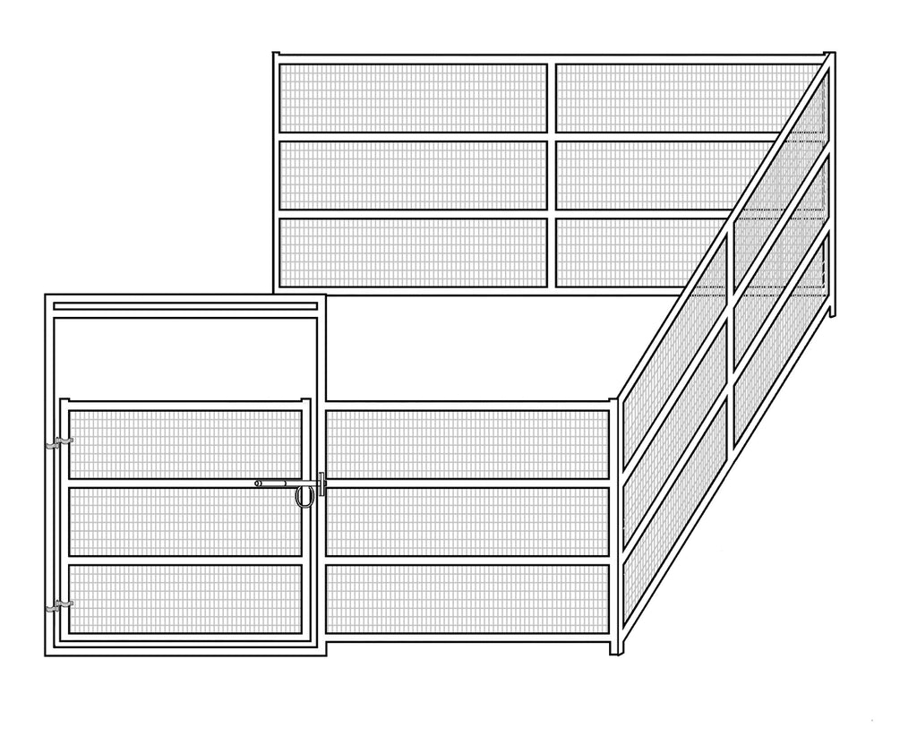 12'W x 12'D Welded Wire Corral 4-Rail 1-5/8 Add-On