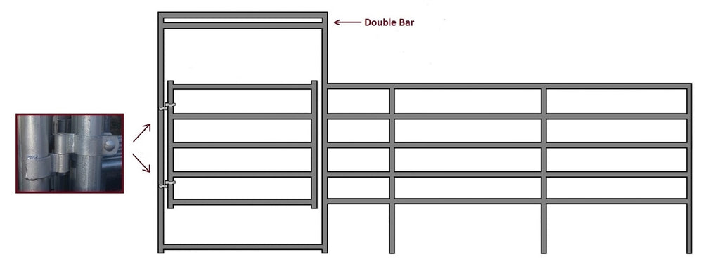 24'W x 5'H Corral Gate 5-Rail 1-5/8""