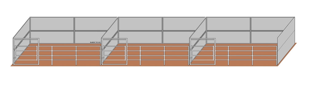 12'D x 24'W Wind Break Solid Wall 3-Run Gated Kit