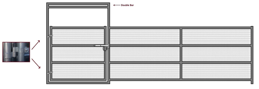 24'W x 6'H Corral Gate Welded Wire Panel 4-Rail 1-5/8