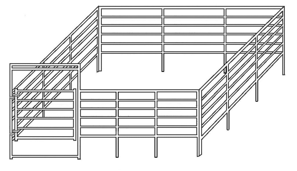 24'W x 24'D Complete Corral 6-Rail 1-7/8