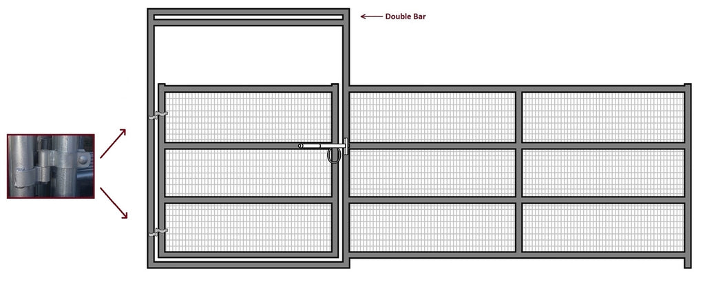 16'W x 6'H Corral Gate Welded Wire Panel 4-Rail 1-5/8