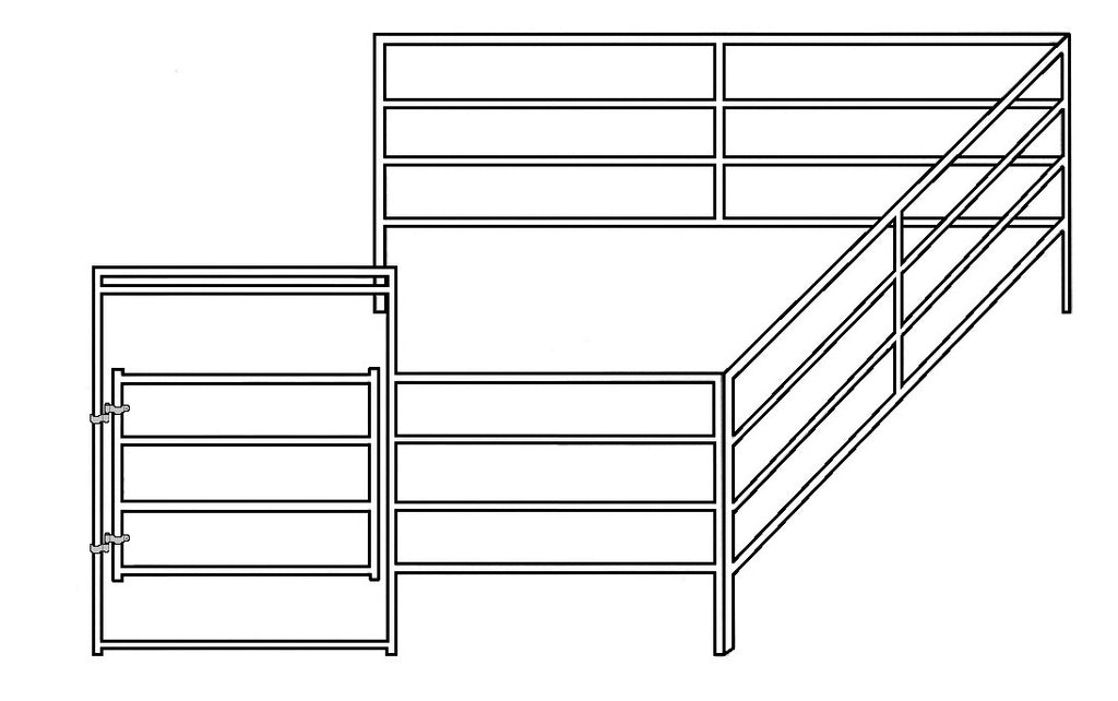 12'W x 12'D Corral 4-Rail 1-5/8 Add-On
