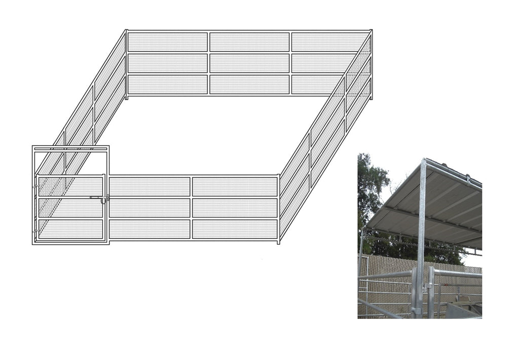 24'W x 24'D Complete Welded Wire Corral 4-Rail 1-5/8 with 8' x 24' Trussed Cover