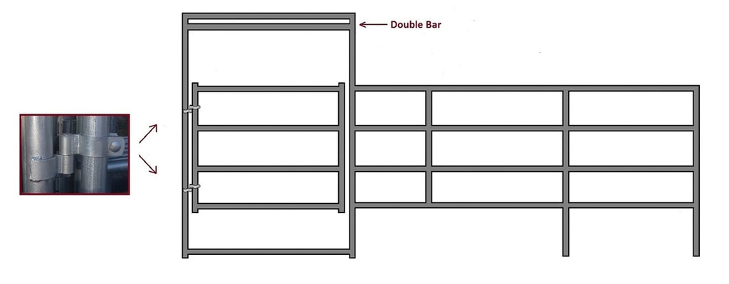 24'W x 5'H Corral Gate 4-Rail 1-5/8""