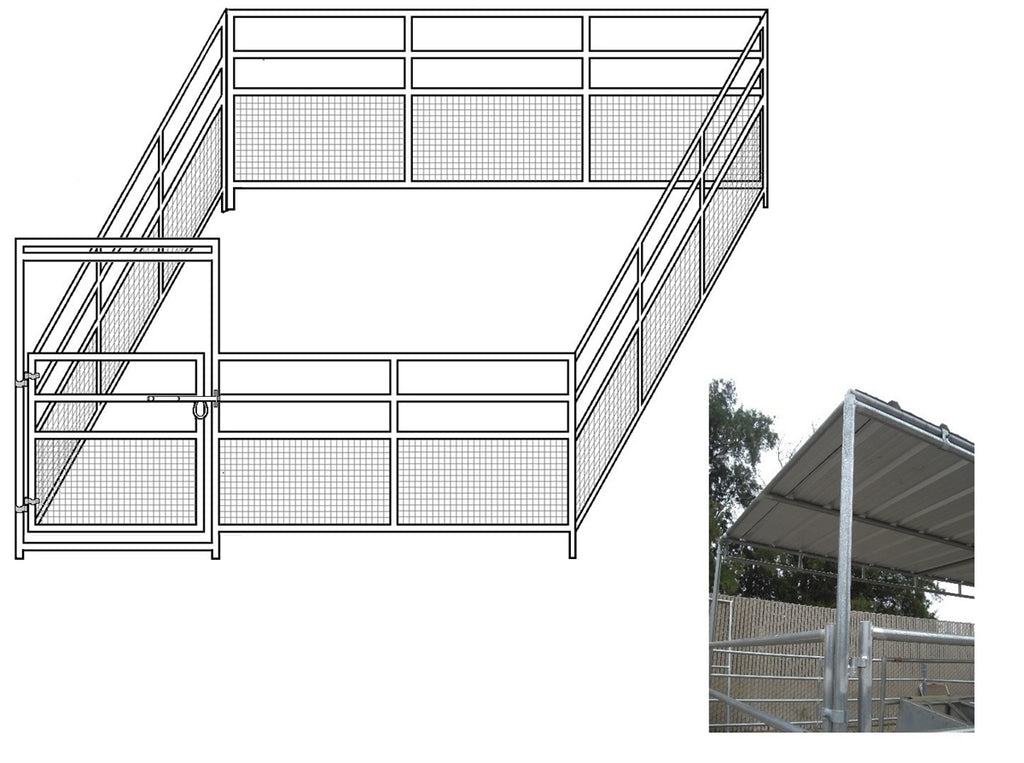 24'W x 24'D 1-5/8 4-Rail Mare & Foal Horse Complete Corral with 8' x 24' Trussed Cover