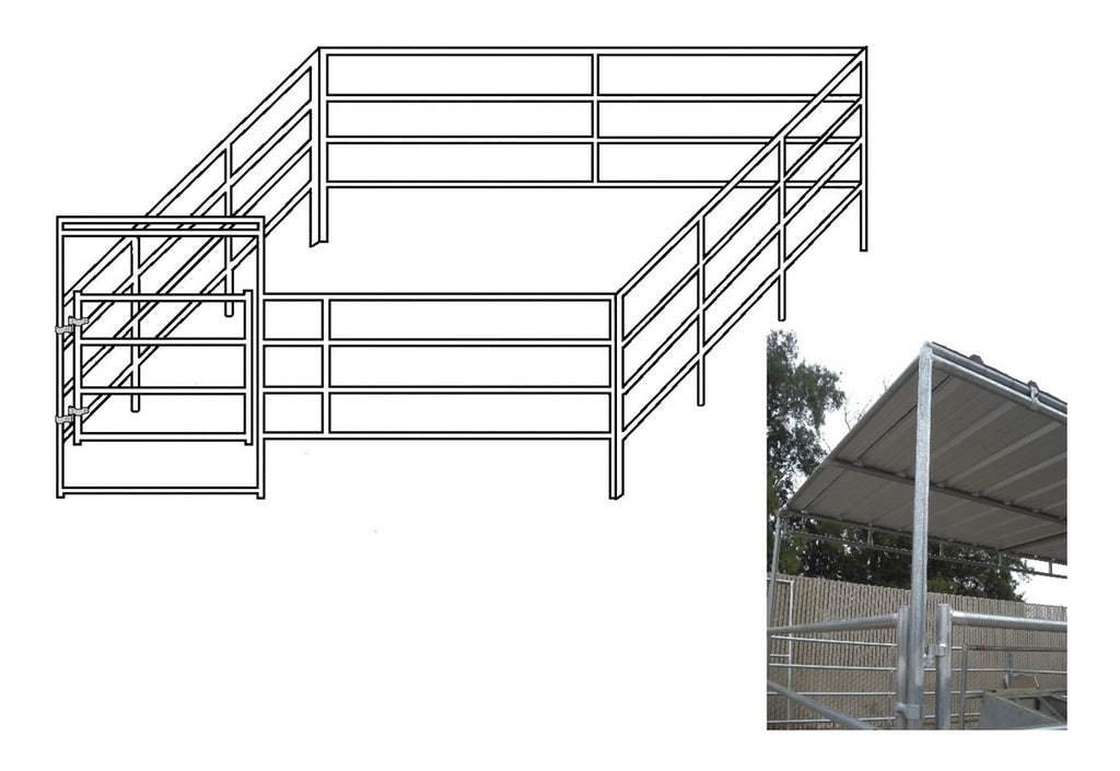 16'W x 24'D Complete Corral 4-Rail 1-5/8 with 8' x 16' Trussed Clamp-On Cover
