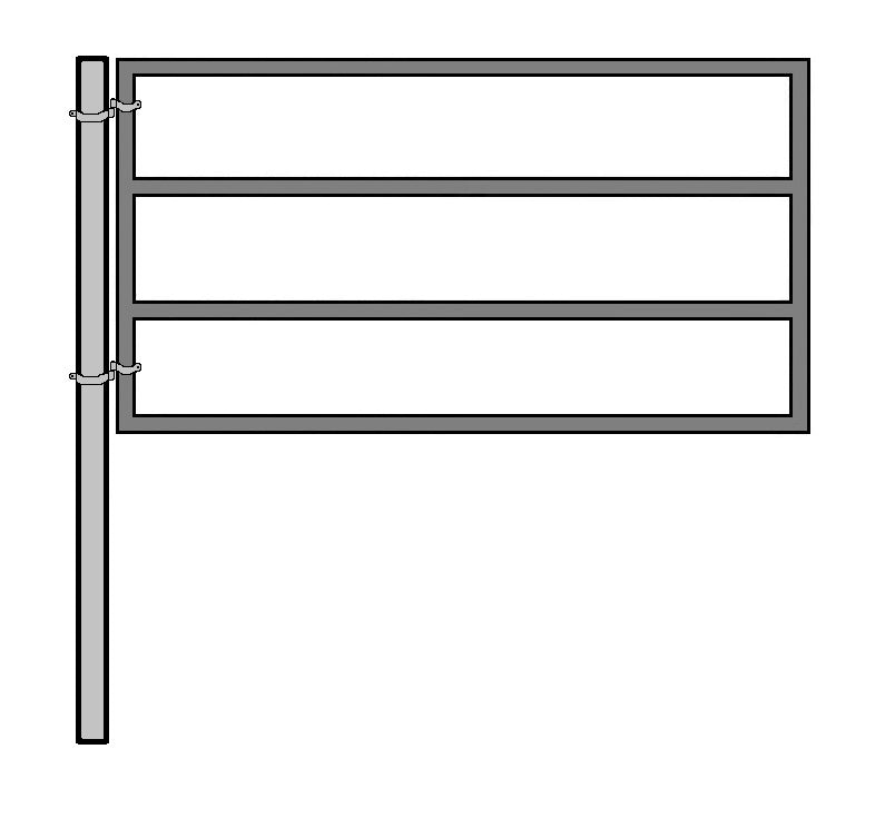 8'W x 5'H 4-Rail Ranch Gate 1-5/8 KIT