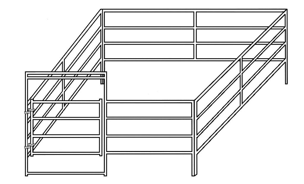 12'W x 12'D Complete Corral 4-Rail 1-7/8