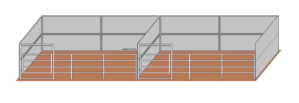 12'D x 24'W Solid Wall Dual Kit w/ Gates