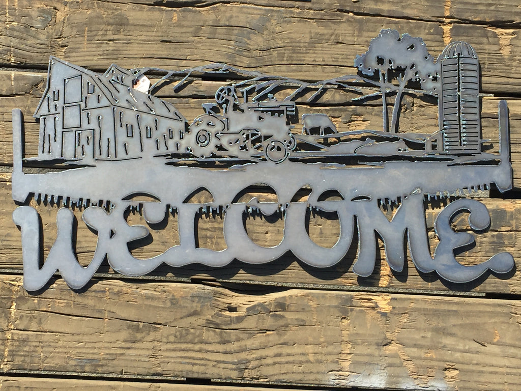 Welcome Barn & Tractor - Laser Art