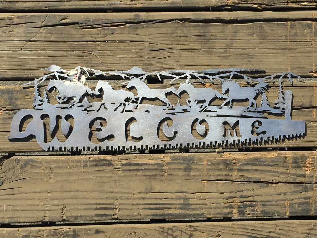 Welcome Saw Horses - Laser Art