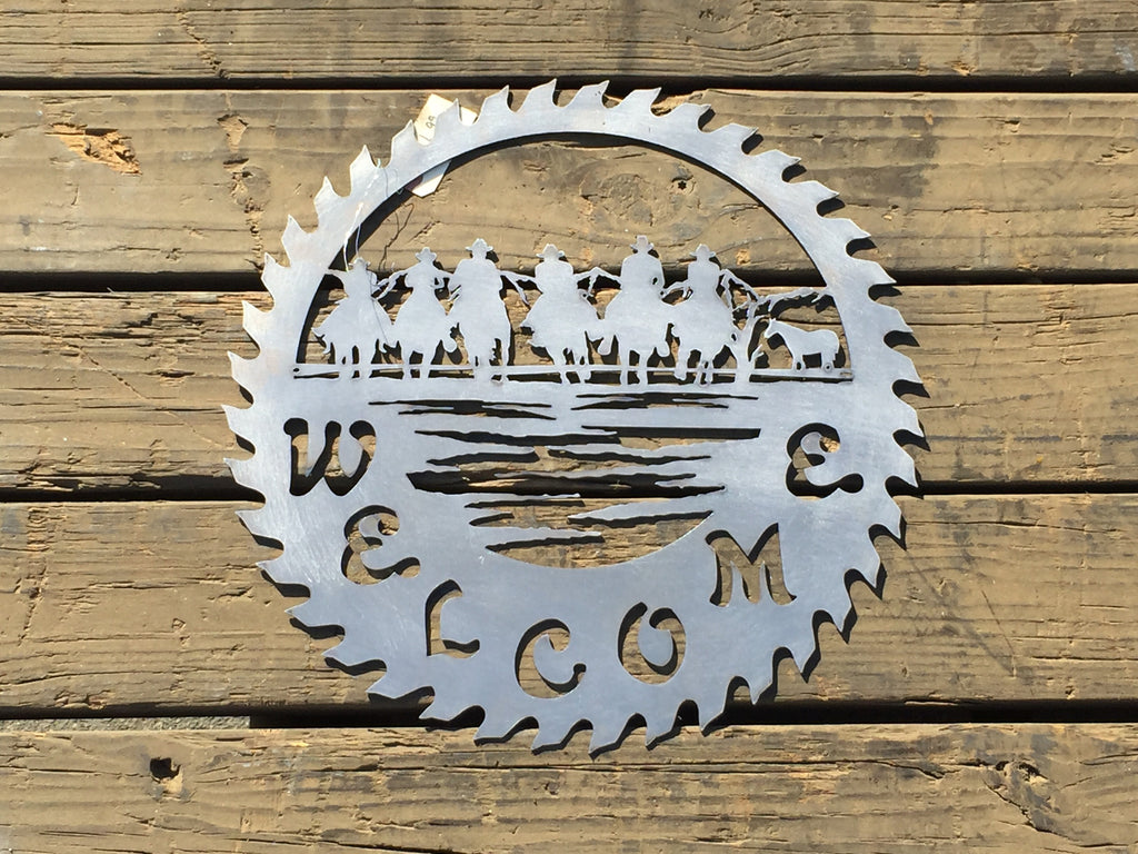 Round Groupn of Cowboys Welcome Saw - Laser Art