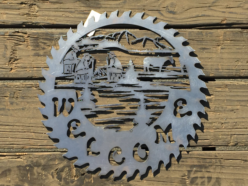 Round Cowboys Welcome Saw - Laser Art