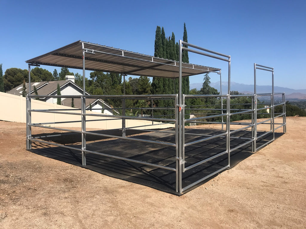12'W x 16'D Complete Corral 4-Rail 1-5/8 Dual W/ 8'D x 24'W Clamp-On Cover