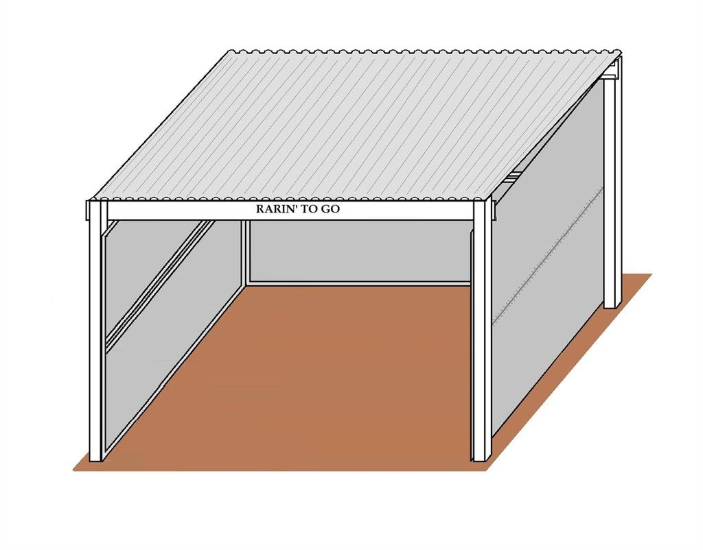 12'D x 12'W Solid-Wall Stall W/ 12' x 14' Free-Standing Cover