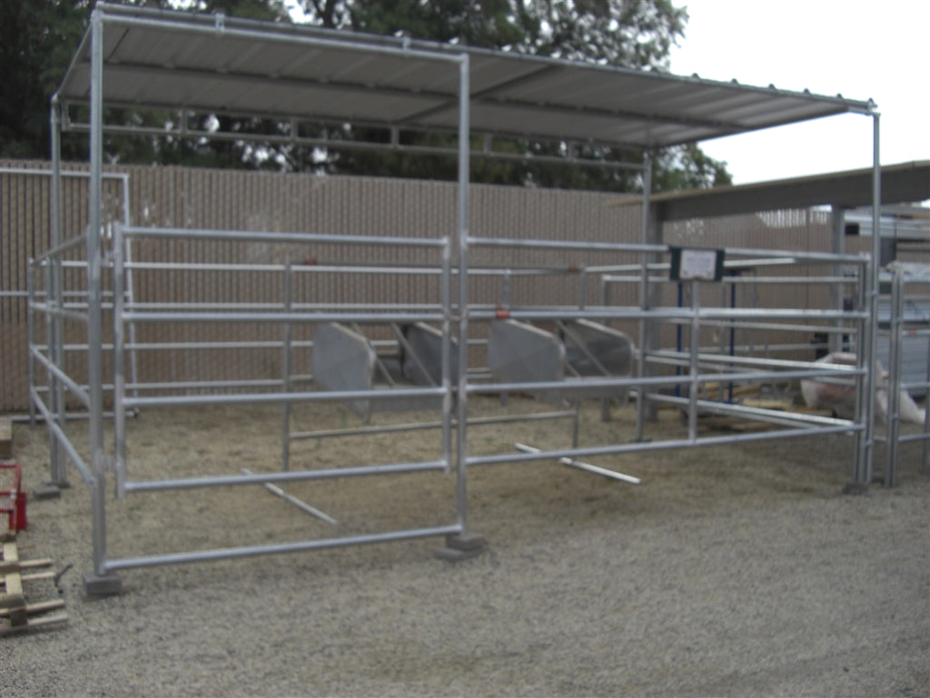 16'W x 16'D Complete Corral 4-Rail 1-5/8 with 8' x 16' Trussed Clamp-On Cover
