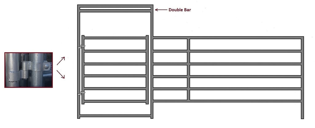 16'W x 6'H Corral Gate Panel 6-Rail 1-5/8""