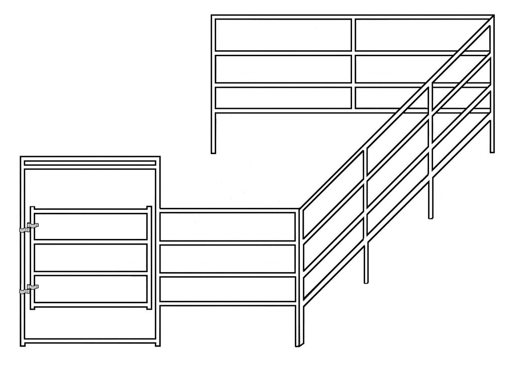 12'W x 24'D Corral 4-Rail 1-5/8 Add-On