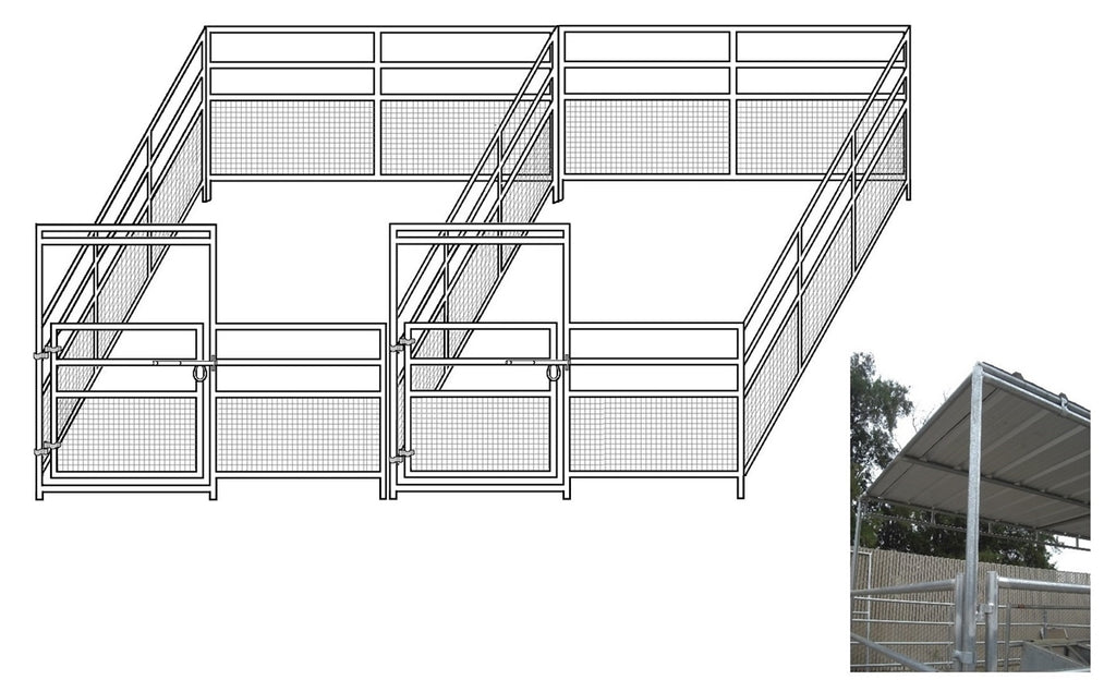 12'W x 24'D 1-7/8 4-Rail Mare & Foal Horse Complete Corral Dual with 8' x 24' Trussed Cover
