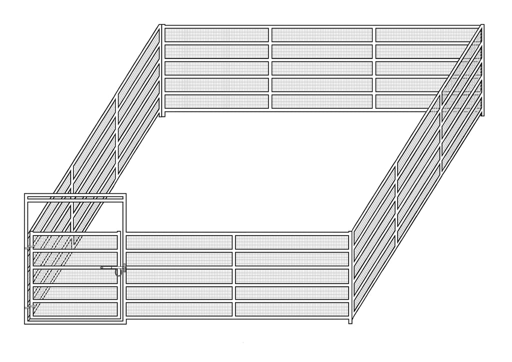 24'W x 24'D Complete Welded Wire Corral 6-Rail 1-7/8