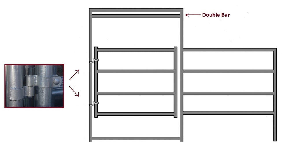 12'W x 5'H Corral Gate Panel 4-Rail 1-7/8