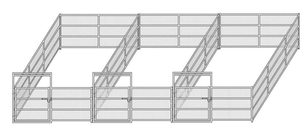 12'W x 24'D Complete Welded Wire Corral 4-Rail 1-7/8 3-Run