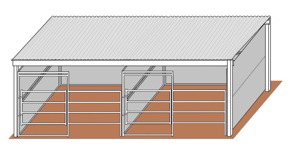 12'D x 12'W Solid Walls Gated Stalls with 12' x 26' Cover Kit