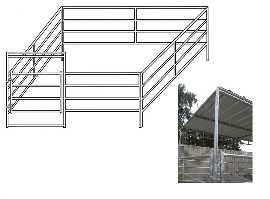 12'W x 12'D Complete Corral 4-Rail 1-5/8 with 8' x12' Trussed Clamp-On Cover