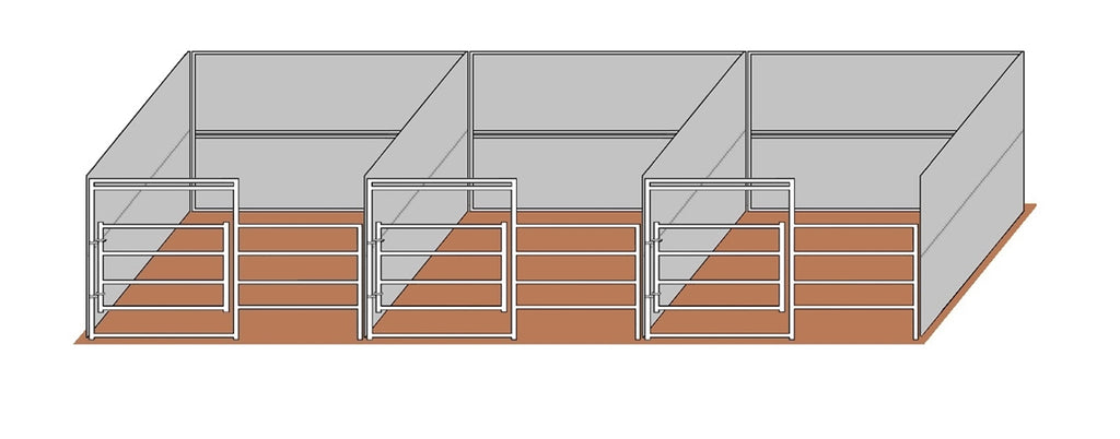 12'D x 12'W Wind Break Solid Wall 3-Run Gated Stall Kit