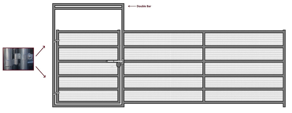 24'W x 6'H Corral Gate Welded Wire Panel 6-Rail 1-5/8