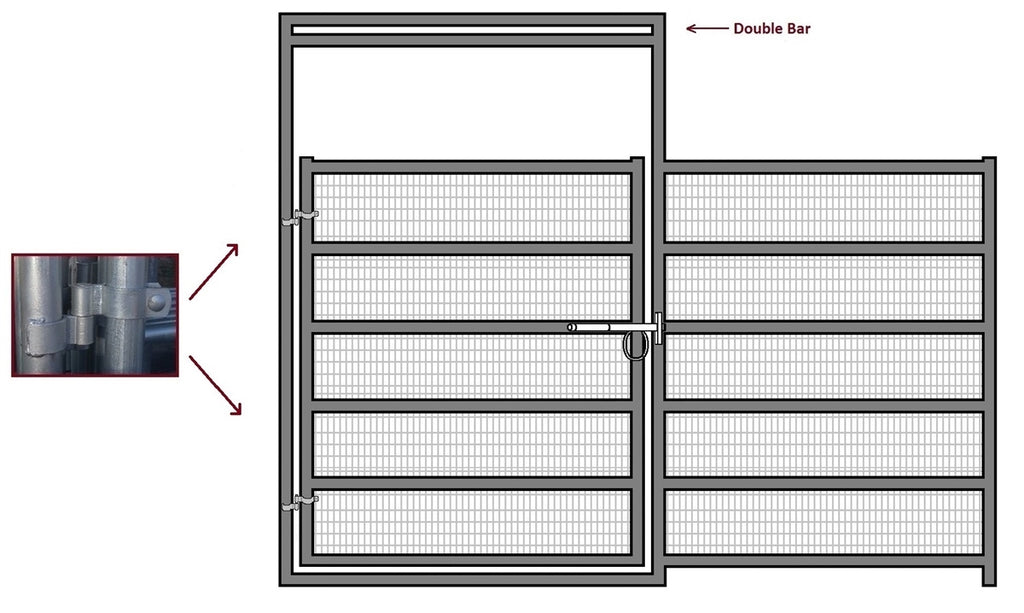12'W x 6'H Corral Gate Welded Wire Panel 6-Rail 1-7/8