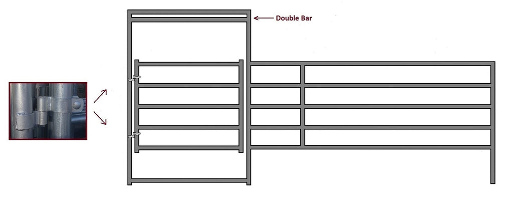 16'W x 5'H Corral Gate Panel 5-Rail 1-5/8""