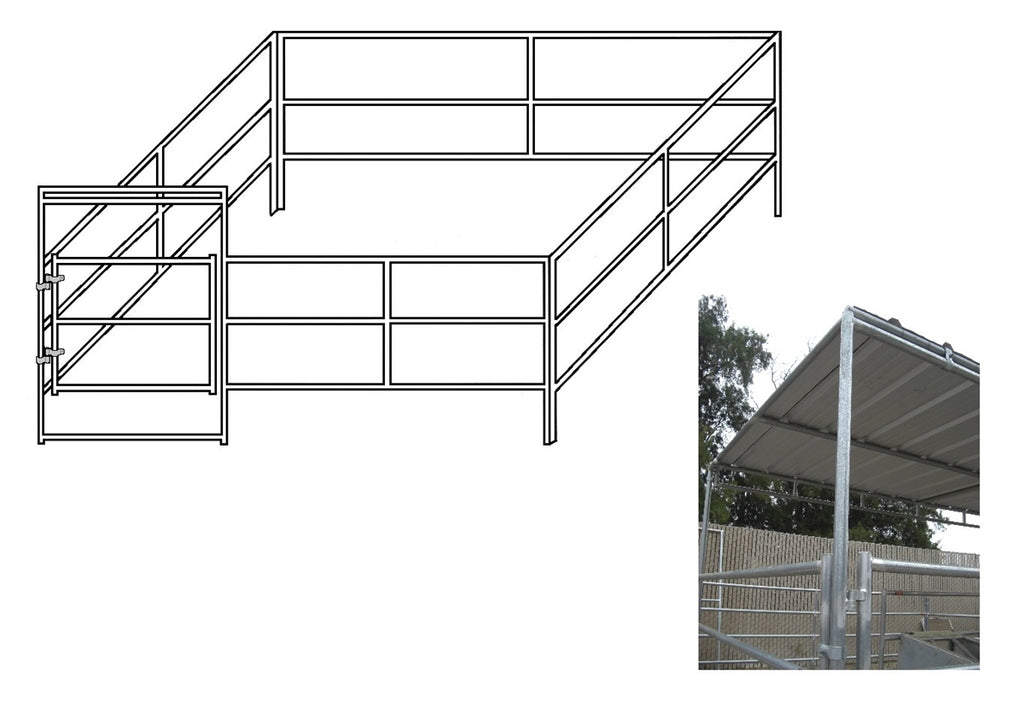 16'W x 16'D Complete Corral 3-Rail 1-7/8 with 8' x 16' Trussed Clamp-On Cover