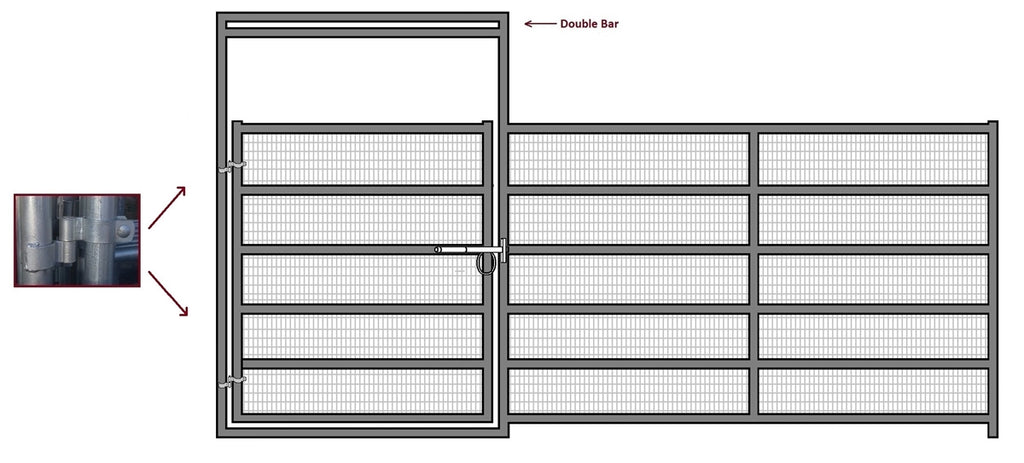 16'W x 6'H Corral Gate Welded Wire Panel 6-Rail 1-7/8