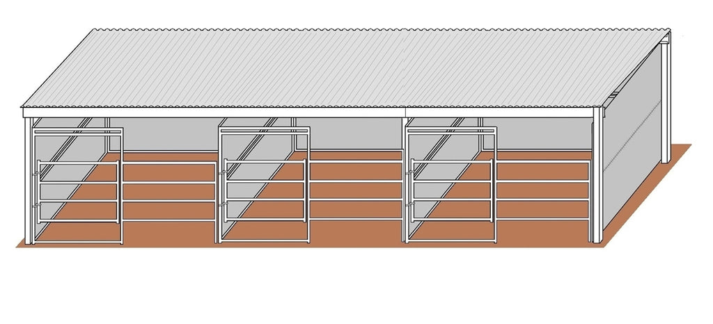 3-Run 12'D x 12'W Solid Walls Gated Stalls with 12' x 38' Cover Kit