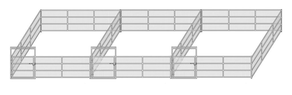 24'W x 24'D Complete Welded Wire Corral 4-Rail 1-7/8 3-Run