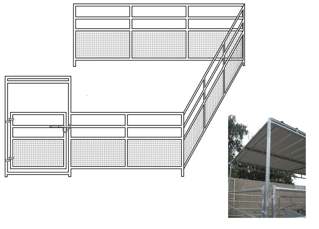 24'W x 24'D 1-7/8 4-Rail Mare & Foal Horse Corral Add-On with 8' x 24' Trussed Cover