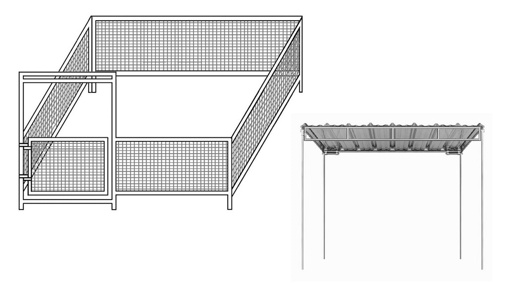 12'W x 12'D Mini Horse Wire Corral 2-Rail 1-3/8 with 6' x 12' Trussed Cover