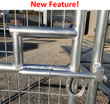 16'W x 6'H 6-Rail 1-7/8 Welded Wire Corral Panel With Gate W/ Wood-Base