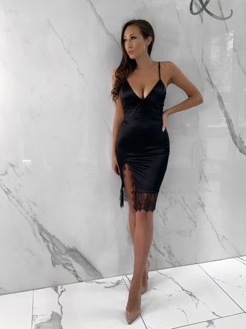 Black-lace-satin-spaghetti-strap-dress-midi-slit-date-night