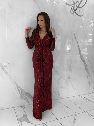 sequin-plunging-gown-longsleeve-dress-red-burgundy-wine-holiday