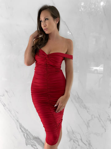 off-the-shoulder-bodycon-ruched-dress-sweetheart-midi-length-red