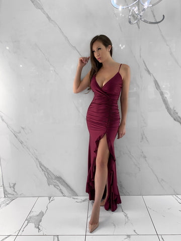 spaghetti-strap-gown-slit-ruched-floor-length-wine-burgundy-dress