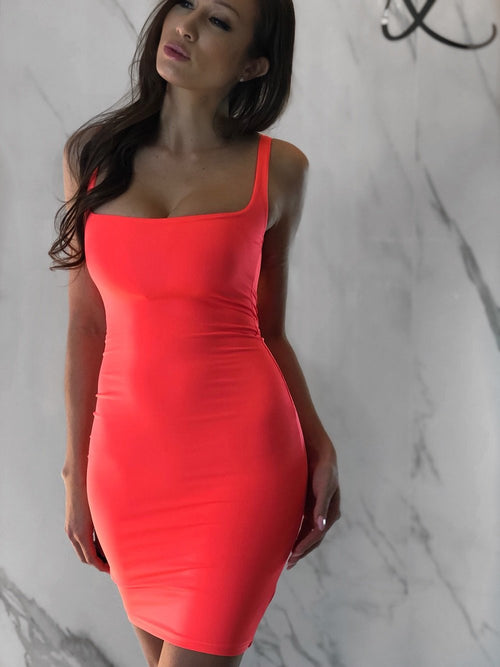 Alaya Dress, Women's Neon Orange Dresses